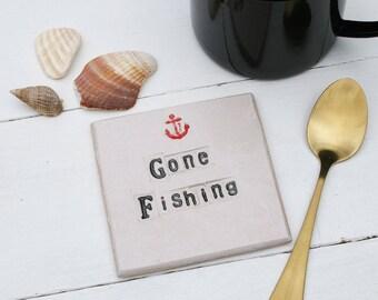 Gone Fishing Ceramic Coaster