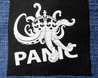 Panic English Crown Sew On Punk Patch Hand Screen Printed Keep Calm Parody