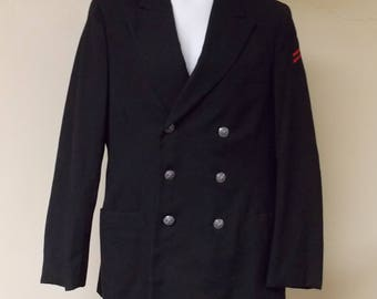 Vintage Vi Mil Inc. US Naval mens winter coat wool black double breasted anchor buttons red stripes