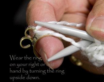 Original knitting ring, 2 loop ring, 2 loop crochet ring, 2 loop yarn ring, 2 loop stranding ring, crochet tools, knitting accessories