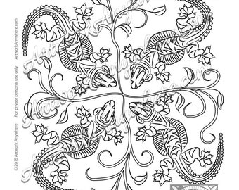 """Lizards, Turtles, and Frogs """"Leapin' Leafy Lizards"""" Adult coloring page printable download from Artwork Anywhere ~hand drawn lizard mandala~"""