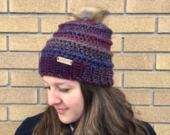 Crochet beehive pom pom beanie hat red blue and green