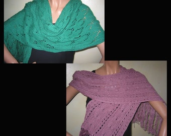 Hand-knitted stole scarf-cloth-shoulder towel made of 100% mako cotton in lace pattern with braid pattern in lilac