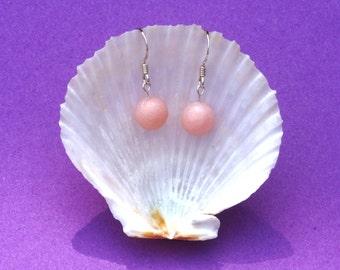 Sterling silver earrings with pink aragonite gemstone beads, Capricorn, Pink earrings, Healing jewellery, Heart chakra, Hypoallergenic