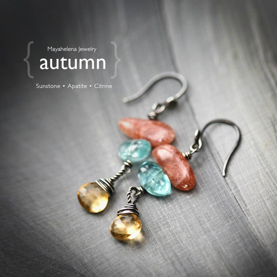 Autumn  - Sterling Silver Wire Wrapped Earrings Sunstone Apatite Citrine