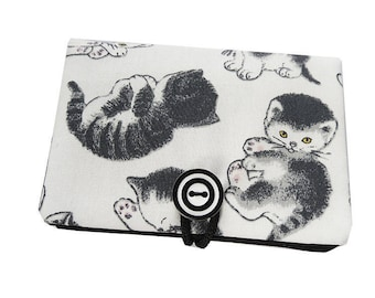 Case / card holder * little black cats * white fabric
