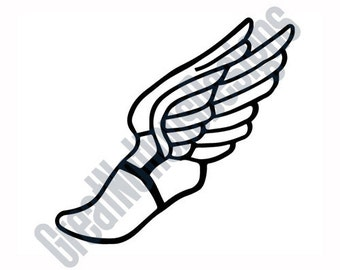Winged Foot - SVG - HTV - Vinyl Cutting - Clip Art Image