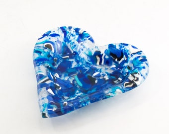 Blue Heart Bowl, Heart Dish, Trinket Tray, Fused Glass Art, Cool House Decoration, Jewelry Storage for Women, Gifts Under 50 for Her