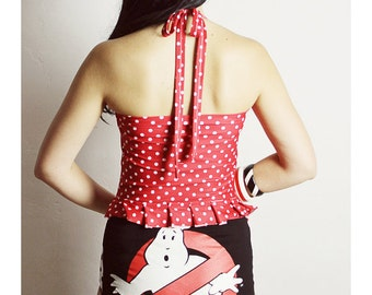 Handmade GHOSTBUSTERS Swimsuit -Ghostbusters One Piece - Red Polka Dot Swimsuit - Ghostbusters Onesie - Ghostbusters clothing