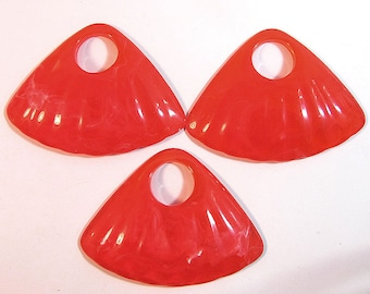 3 Acrylic Coral Clamshell Pendants