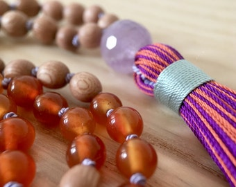 108 Yoga Necklace, Gemstone Jewelry, Amethyst, Carnelian, Rosewood, Meditation Mala, Silk Tassel Necklace, Healing Prayer Beads, Japa Mala
