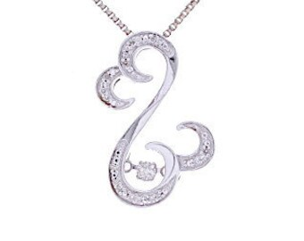 Diamond Heart Necklace, 0.08ct, Sterling Silver (925N420)