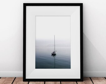 Boat Art, Sailboat Print, Ocean Art, Ocean Photo, Printable Art, Minimalist Print, Ocean Water, Sea Prints, Nautical Wall Decor, Bathroom