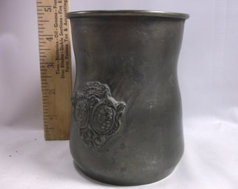 Vintage Pewter-Over-Copper Coat Of Arms Made In Italy Mug Stein Tankard Cup USA