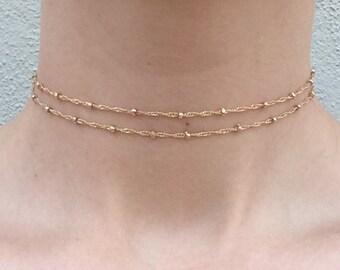 Gold/silver Layered Beaded Choker Dainty Choker