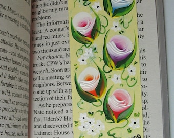 Hand-painted Magnetic Bookmark - Pink, Blue, Purple, Red, Orange and White Rosebuds and Daisies - No. 1192