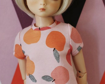 Peachy - Short sleeved sweater dress with peach print for Slim MSD - by icantdance