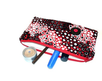 Makeup bag, cosmetic case, zipper travel pouch for cosmetics or gadgets, red black white, gift for her, slim clutch