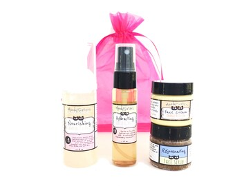 Natural Skincare Set for Dry or Mature Skin - Organic Cleanser, Facial Scrub, Toner Mist, and Facial Cream Moisturizer in Gift Box