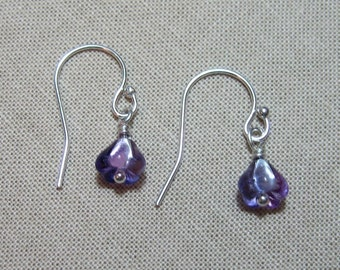 Teeny Tiny violets earrings - delicate glass purple flowers on sterling silver ear wires - free shipping USA
