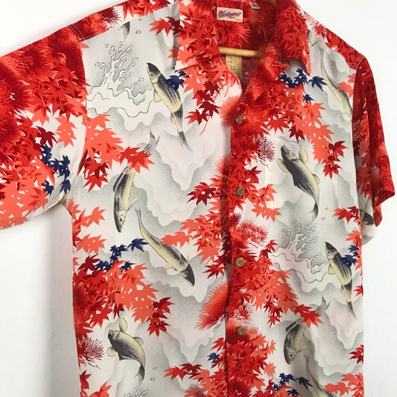 Shirt Rayon Hawaiian Toyo Summer Polo Hawaiian Vintage Koi Enterprise Sun Size Small Surf Shirt Fish wnq7YH