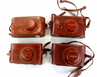 Lot of 4 original ARGUS vintage camera leather bags