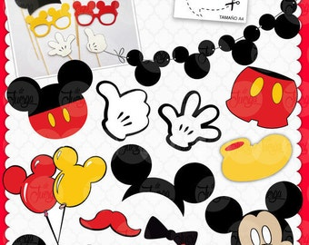 Printable Photo Booth Mickey Props INSTANT DOWNLOAD -