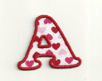 "Valentine's Glitter Classic Heart Letter, 2"" Patch! Custom Made!"