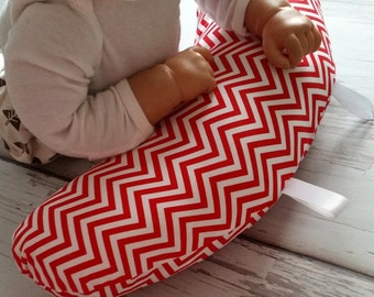 Organic Tummy Time Pillow, Chevron in Red