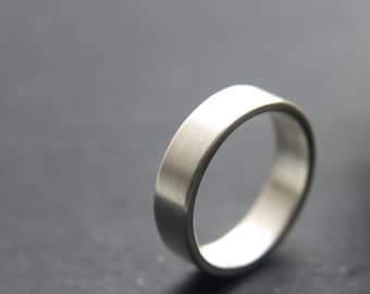 5mm wedding ring for men, in tarnish resistant Argentium silver, brushed finish - made to order