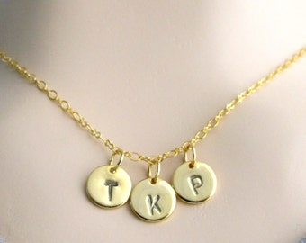 Initial Necklace -Three inital Necklace Gold Initial Necklace Gold Monogram Necklace Charm Bridesmaid Gifts, Gift jewelry Free Shipping USA
