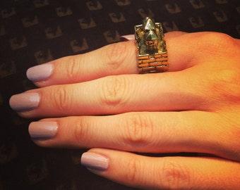 Brass Gold Castle Ring