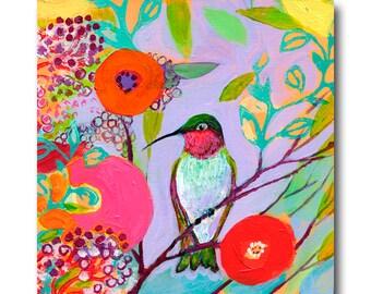 Hummingbird in Pink - Bird Fine Art Print by Jenlo