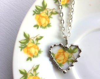 Broken china jewelry, heart pendant necklace, petite heart, antique porcelain, yellow rose, recycled china, Dishfunctional Designs