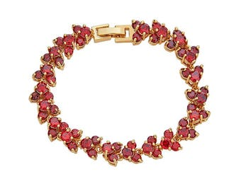 14K Gold Filled Bracelet with Leaf Shaped Chain Filled With Red Stones