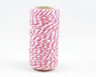 BAKERS TWINE - Dark Pink & White Two-tone Twisted Cotton String / Bakers Twine (20 meter spool)