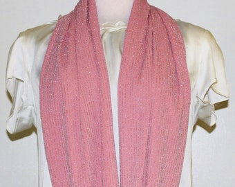 Women's Pink Silver Scarf Elegant Cold Weather Accessory