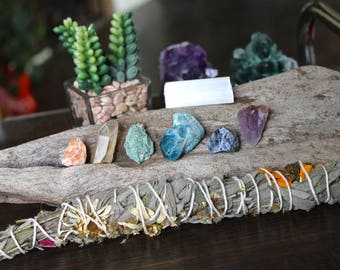 Sage Healing Stone Kit, Sunflower, Wildflower & Sage Bundle, Wiccan Altar Supplies, Amethyst, Quartz Point, Crystal Healing Wicca Stone Set