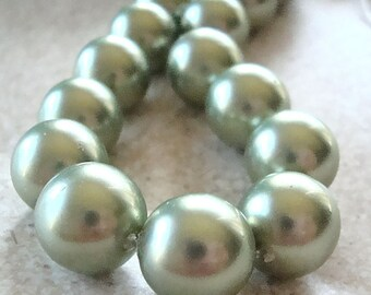 Shell Pearl Beads 10mm Lustrous Sage Green Smooth Rounds - 6 Pieces