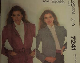 McCalls 7241, size small, unlined jacket in two lengths, UNCUT sewing pattern, craft supplies
