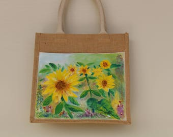 Hand Painted Sunflower Tote