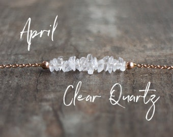 April Birthstone Necklace, Clear Quartz Necklace, Raw Quartz Bar Necklace, Healing Crystal, Minimalist Necklace, April Birthday Gift