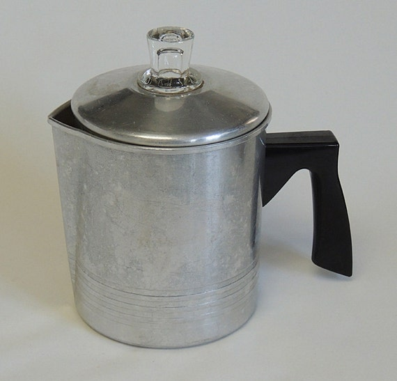 Vintage Chilton Ware Aluminum Stove Top Single Serving Coffee Percolator Pot.. Complete