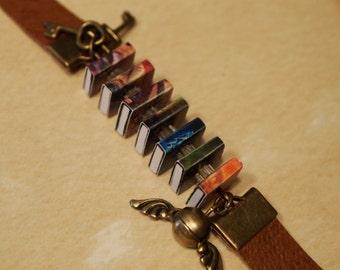 Harry Potter Inspired Leather Book Bracelet