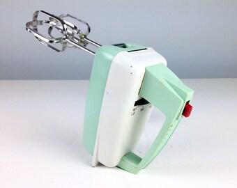 Vintage Mint Green Hand Mixer, Westinghouse Electric Mixer, Turquoise Mixer, Aqua Blue Kitchen