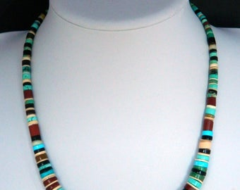 """Native American Santo Domingo Turquoise Pipestone Jet Heishi Sterling Silver Graduated Necklace 20"""""""