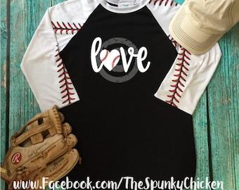 Ladies Baseball Mom Love XOXO Heart Raglan Shirt - CHOOSE DESIGN