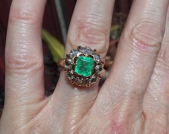 Georgian Emerald and Diamond Cluster Engagement Ring