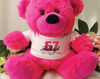 Personalised Birthday Bear - Hot Pink - Any Age