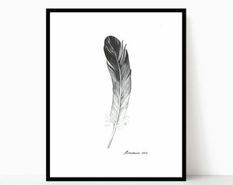Feather Original Painting Feather Watercolor Mothers Day Gift Feather Art Grey Black Feather Wall Art Feather Decor Black and White